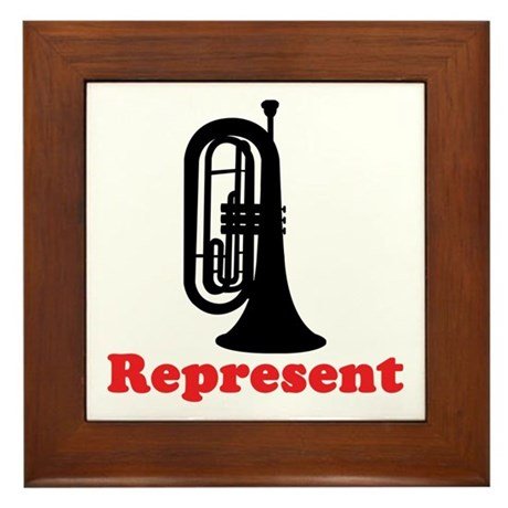 Marching Band Baritone Represent Framed Tile