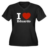 I love Eduardo Women's Plus Size V-Neck Dark T-Shi