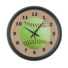 Softball Large Wall Clock