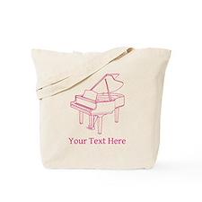 Pink Piano and Custom Text. Tote Bag