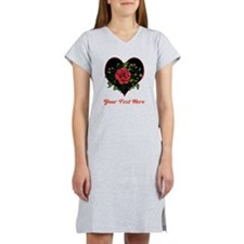 Romantic Red Rose and Text. Women's Nightshirt