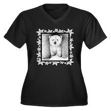 Polar Bear Cub Xmas Snowflakes Women's Plus Size V