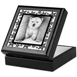 Polar Bear Cub Xmas Snowflakes Keepsake Box