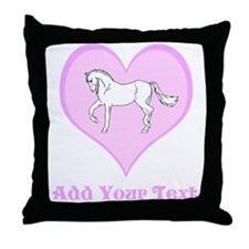 Horse and Pink Heart and Text Throw Pillow