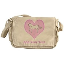 Horse and Pink Heart and Text Messenger Bag