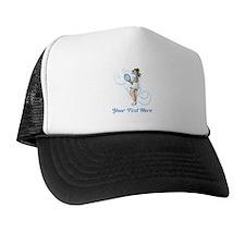 Female Tennis Player. Text. Trucker Hat