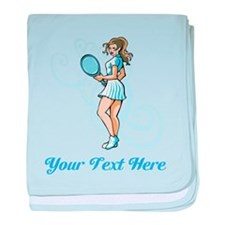 Female Tennis Player. Text. baby blanket