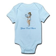Female Tennis Player. Text. Infant Bodysuit