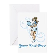 Female Tennis Player. Text. Greeting Card