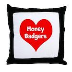 Big Heart Honey Badgers Throw Pillow