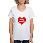 Big Heart Honey Badgers Women's V-Neck T-Shirt