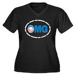 OMG Women's Plus Size V-Neck Dark T-Shirt