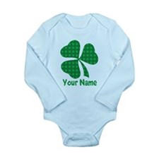 Personalized Irish Shamrock Long Sleeve Infant Bod