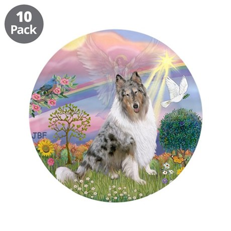 "CloudAngel-Collie (B) 3.5"" Button (10 pack)"