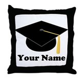Personalized Black Graduation Cap Throw Pillow