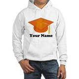 Personalized Orange Graduation Hat Hoodie