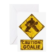 Hockey Goalie Caution Sign Greeting Card