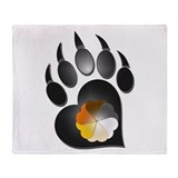Bear Pride Heart Paw Throw Blanket