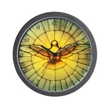 Vintage Stained Glass Dove Decor Wall Clock
