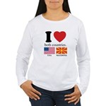 USA-MACEDONIA Women's Long Sleeve T-Shirt