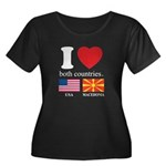 USA-MACEDONIA Women's Plus Size Scoop Neck Dark T-