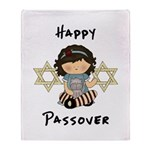 Happy Passover Girl Throw Blanket