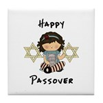 Happy Passover Girl Tile Coaster