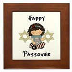 Happy Passover Girl Framed Tile