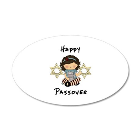 Happy Passover Girl 20x12 Oval Wall Decal