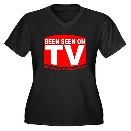 Been Seen on TV Porn Women's Plus Size V-Neck Dark