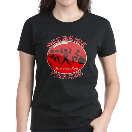 Stroke Disease Walk Run Ride Women's Dark T-Shirt
