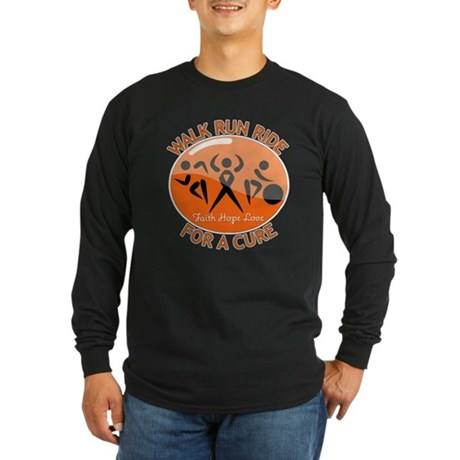 Multiple Sclerosis Walk Run Long Sleeve Dark T-Shi
