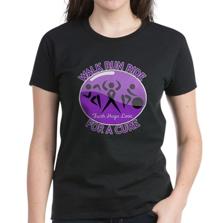 Alzheimers Disease Walk Run Ride Women's Dark T-Sh