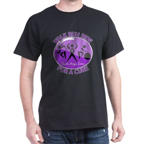 Alzheimers Disease Walk Run Ride Dark T-Shirt