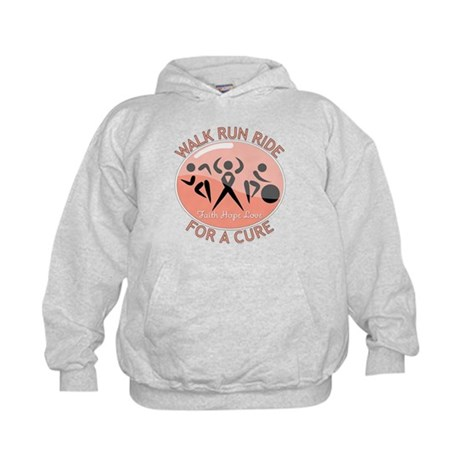 Uterine Cancer Walk Run Ride Kids Hoodie