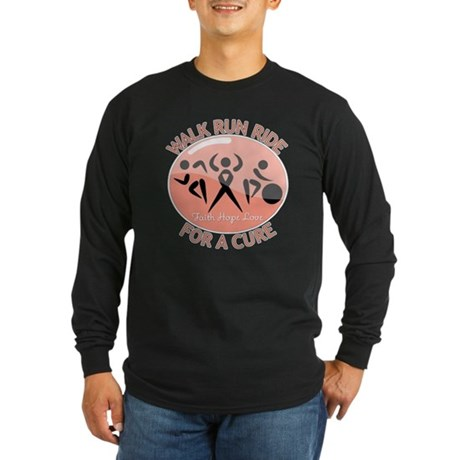 Uterine Cancer Walk Run Ride Long Sleeve Dark T-Sh
