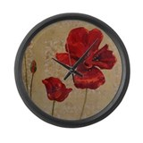 Red Poppy Art II Large Wall Clock