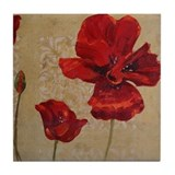 Red Poppy Art II Tile Coaster