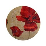 "Red Poppy Art II 3.5"" Button"