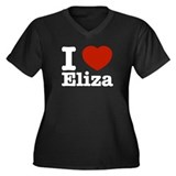 I love Eliza Women's Plus Size V-Neck Dark T-Shirt