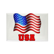USA Flag Red White & Blue Rectangle Magnet