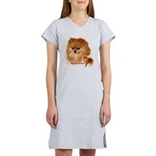 Pomeranian head and body Women's Nightshirt