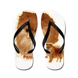 Pomeranian head and body Flip Flops