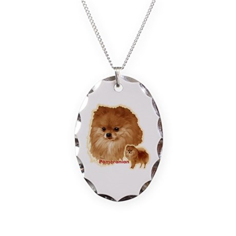 Pomeranian head and body Necklace Oval Charm