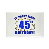 45th Birthday Party Time Rectangle Magnet
