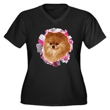 Pomeranian head dog art Women's Plus Size V-Neck D