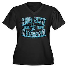 Big Sky Black Ice Women's Plus Size V-Neck Dark T-