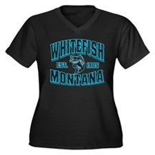 Whitefish Black Ice Women's Plus Size V-Neck Dark