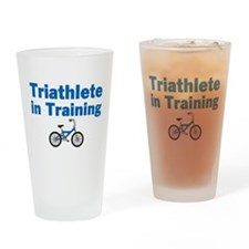 Triathlete in Training - Blue Bike Drinking Glass