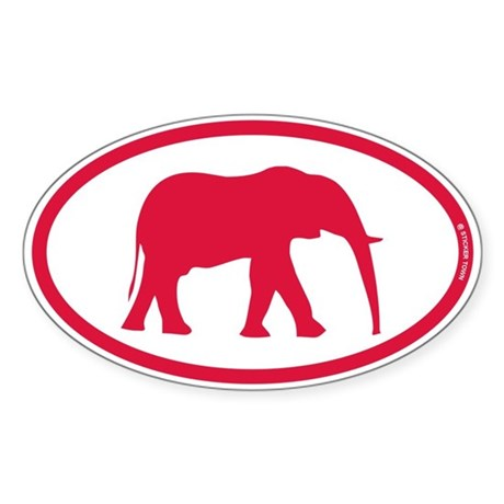 Alabama Red Elephant II Sticker (Oval)